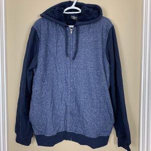 Jem Zip Up Marled Sherpa Fleece Hooded Sweatshirt